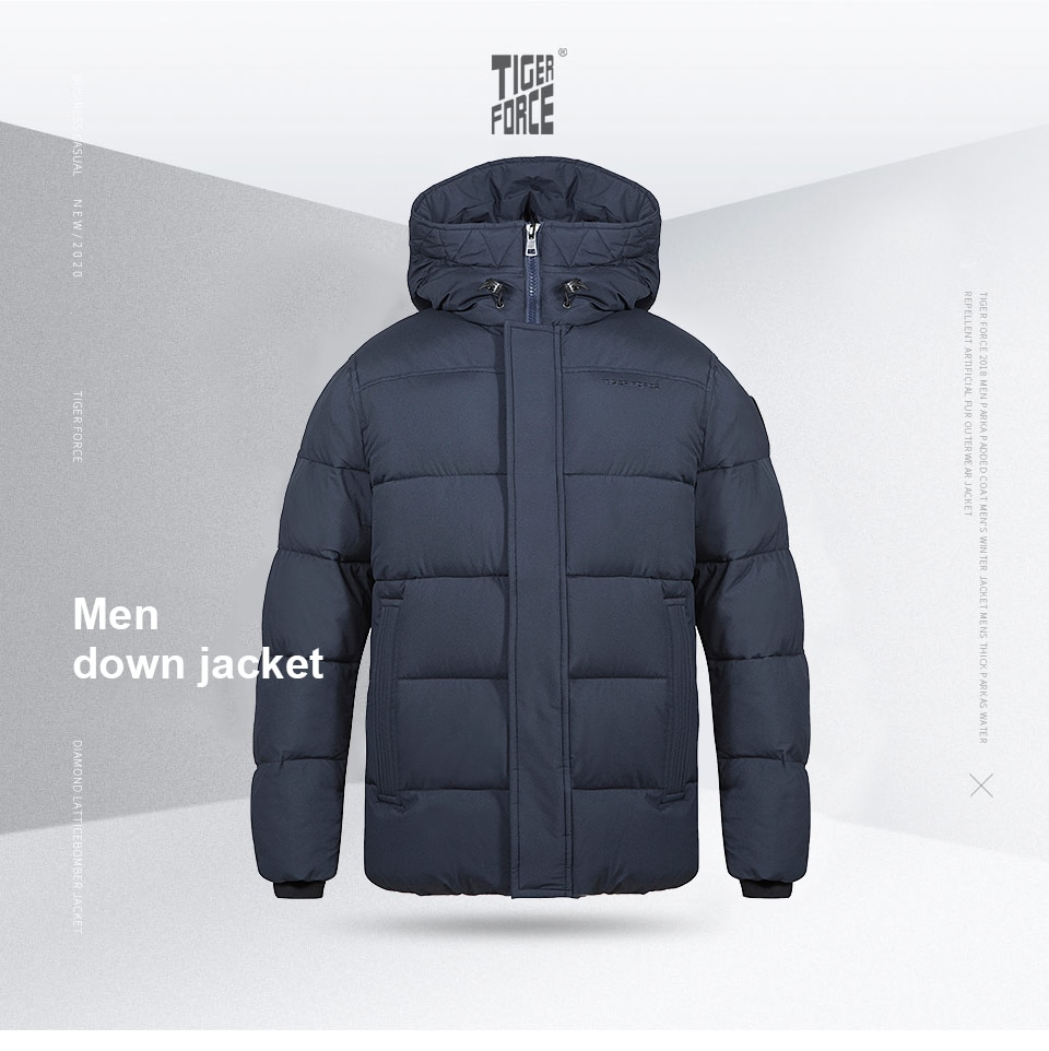 TIGER FORCE 2020 winter  Men's jackets Mid-length Hooded Men's Winter Jacket Lining printing Warm Casual markers man Parka 70750