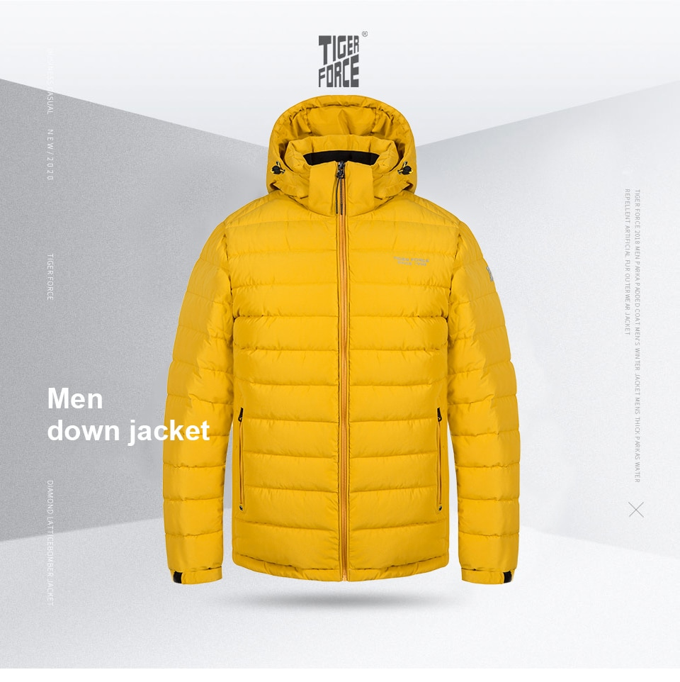 TIGER FORCE 2020 New Men's winter jacket  Medium-long Hooded Jackets Thick  Army Green Casual outdoor Warm Parka man coat 70769