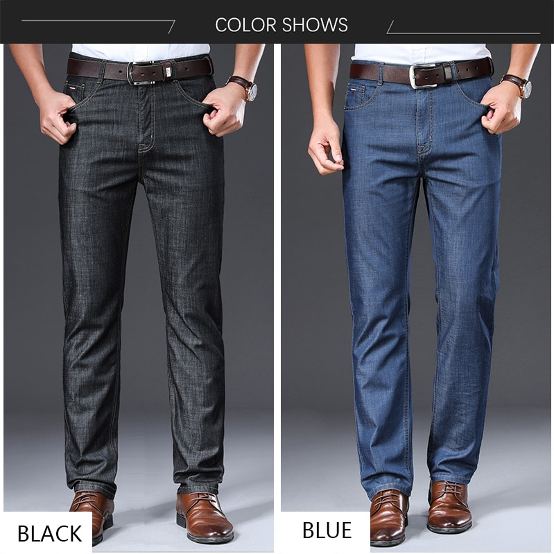 BROWON Brand 2020 Men Jeans Summer Thin Breathable Soft Mid Straight Regular Men's Jeans Trousers Vintage Mens Clothing