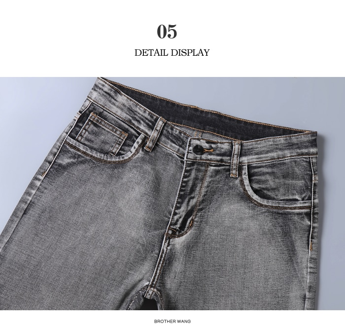 2020 New Men's Stretch Regular Fit Jeans Business Casual Classic Style Fashion Denim Trousers Male Black Blue Gray Pants