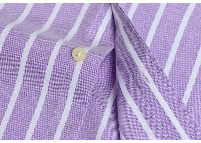 Men's Oxford Striped Pattern Throughout Casual Shirts Single Patch Pocket Long Sleeve Standard-fit Button-down Thick Tops Shirt