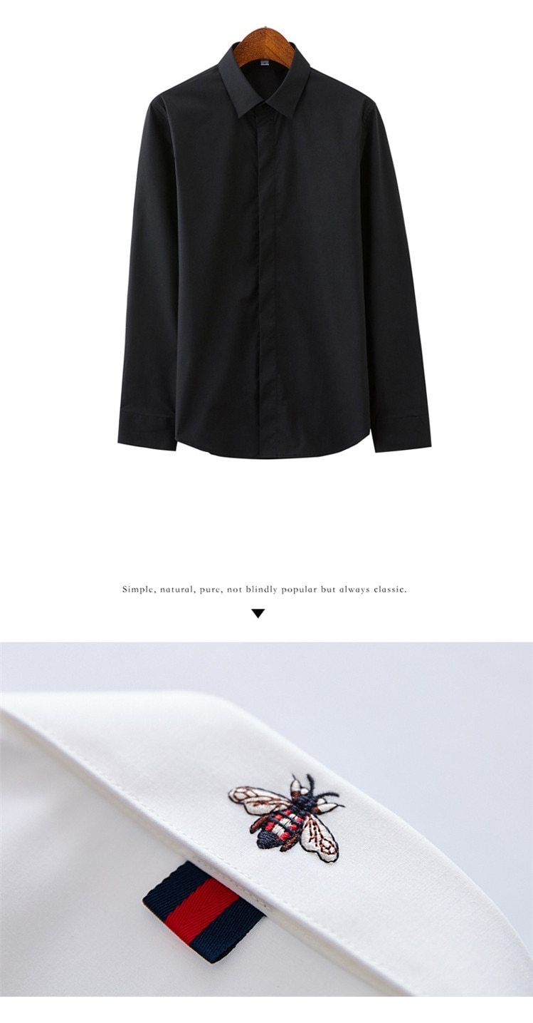 Little bee embroidery casual shirt men brand clothing 2010 new long sleeve slim fit solid male shirt top quality white and black