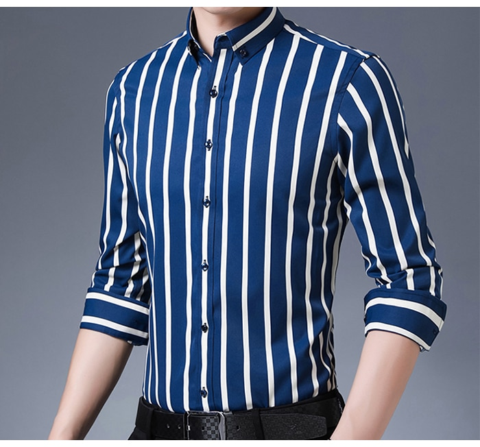 Men's Non-iron Stretch Casual Striped Dress Shirts Single Patch Pocket Long Sleeve Standard-fit Youthful Button-down Tops Shirt