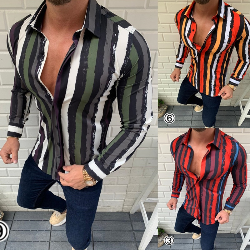 Men Shirt 2020 Summer Hot Sale Fashion Shirts Casual Long Sleeves Printed Shirts Short-Sleeve Male Tops Blouses