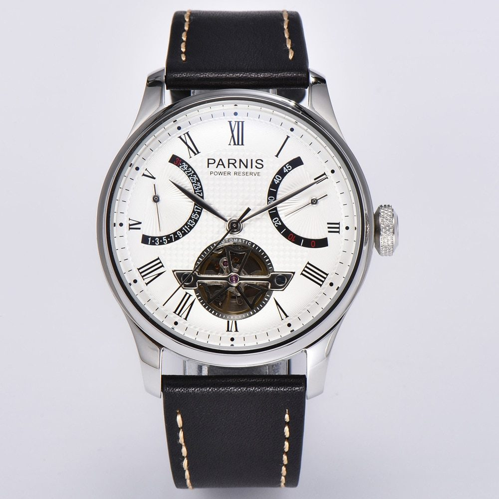 Parnis 43mm Black Dial Men's Automatic Watch Silver case Leather strap Calendar Kinetic Flywheel Power Reserve Mechanical Watch