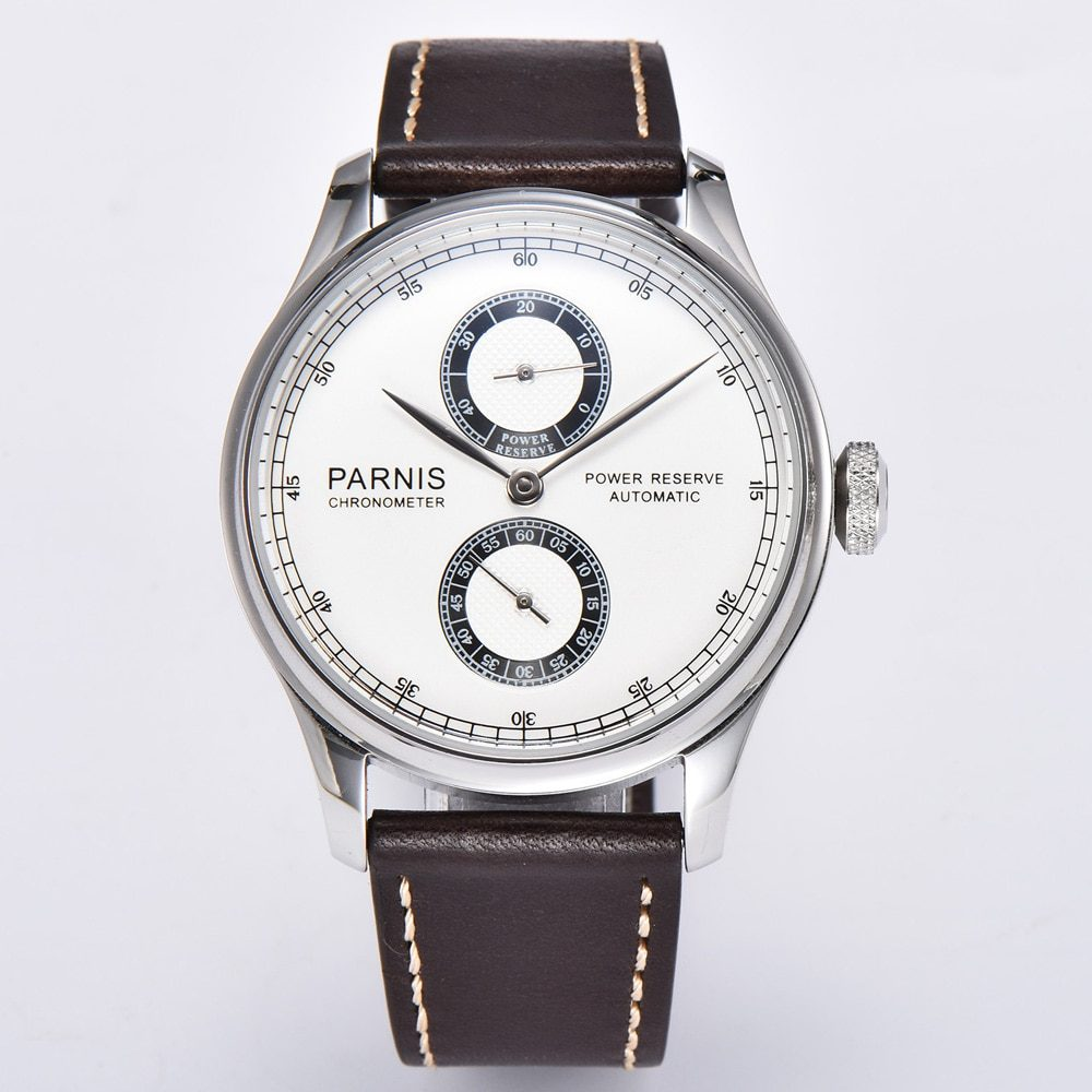 Parnis 43mm White Dial Automatic Mechanical Mens Watch Luxury Brand Fashion Power Reserve Waterproof Wristwatch Men