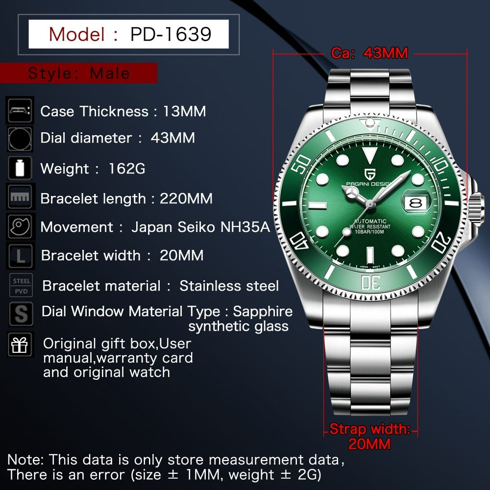 PAGANI DESIGN 1639 Green Men's Mechanical Watches Luxury Automatic Watch For Men Stainless Steel Waterproof Clocks Reloj Hombre