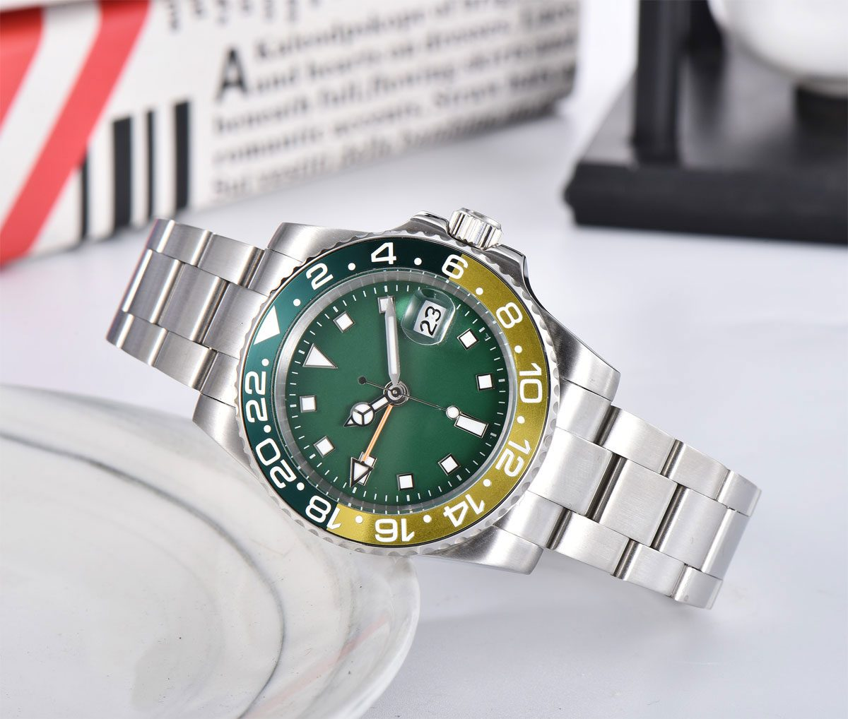 40mm Black Aseptic Dial Luminous Sapphire Glass GMT Automatic Men's Watch Luxury Brand Top Mechanical Watch Relogio Masculino