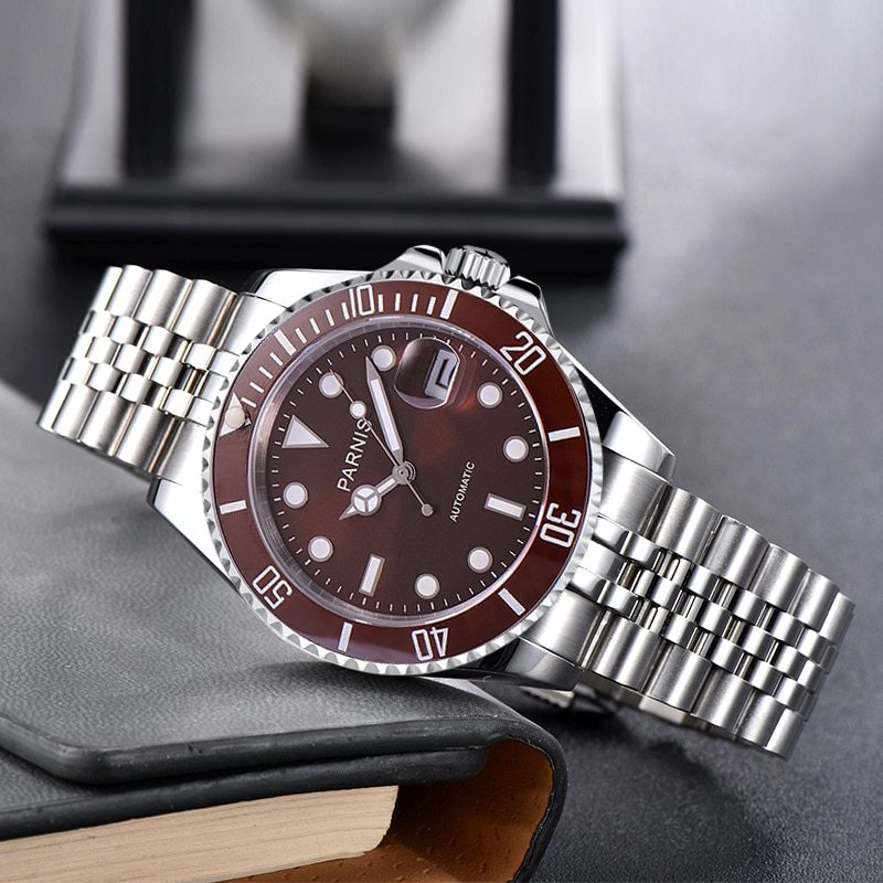 Fashion Parnis 40mm Brown Dial Automatic Mechanical Men's Watch Silver Steel Bracelet Men Watches Waterproof 2020 with box gift