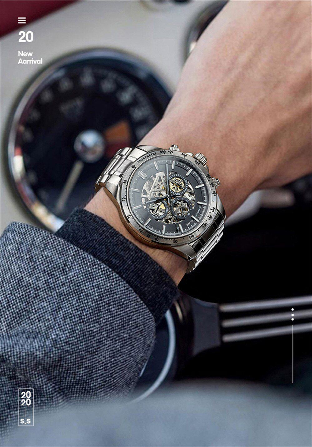 HAIQIN Skeleton Watch Men Mechanical Mens Watches Top Brand Luxury Watches For Men Automatic Wristwatch Waterproof Clock Relogio