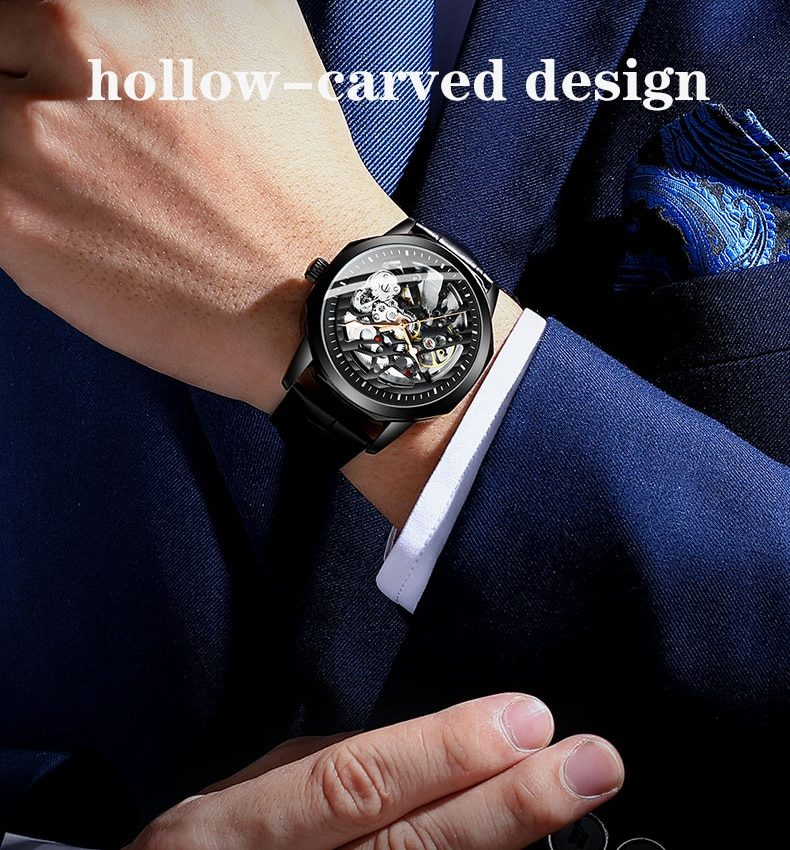 New watches men's watches high-end brand men's mechanical watches automatic waterproof leather watches
