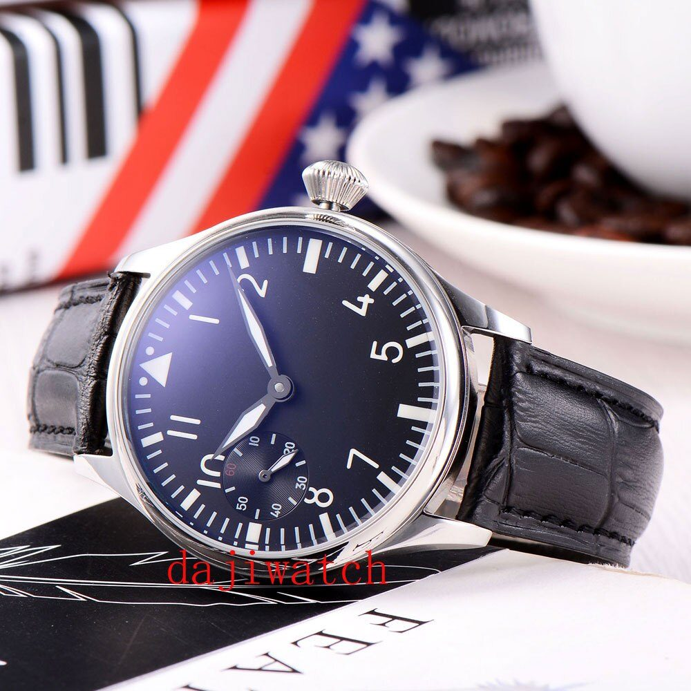 44mm casual fashion black dial white pointer 6497 winding movement men's watch black leather strap