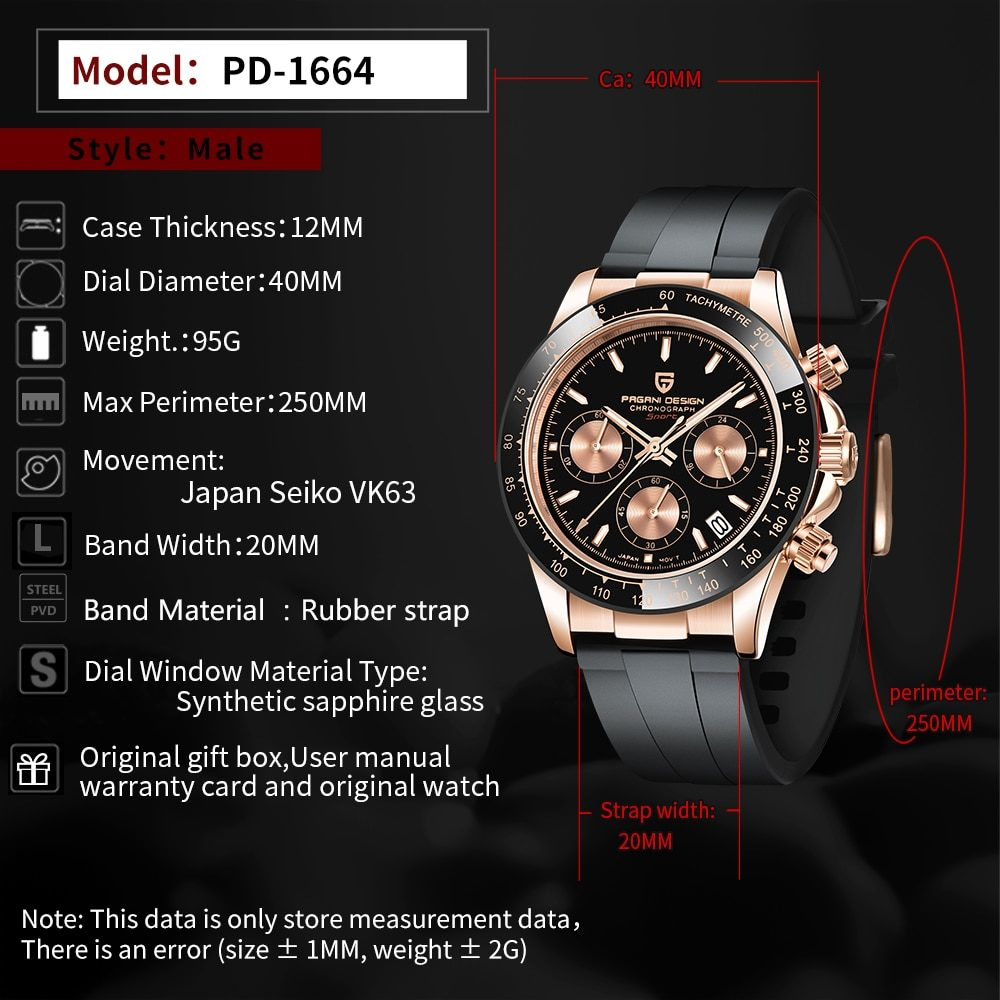 PAGANI DESIGN Top Brand Luxury Automatic Watch Men Sapphire Business Wristwatches Sport Watches For Men Chronograph Reloj Hombre