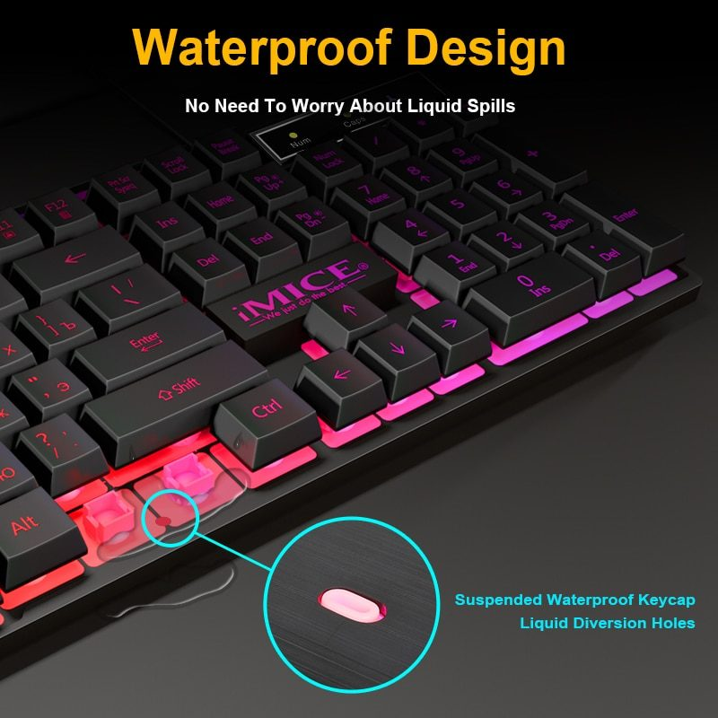 Gaming keyboard Gamer keyboard with backlight USB 104 Rubber keycaps RGB Wired Ergonomic Russian keyboard For PC laptop
