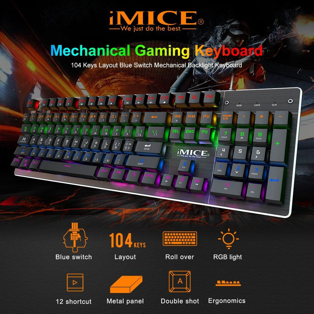 Gaming Keyboard Mechanical keyboard Gamer with backlight USB RGB 87/104 keycaps Wired Ergonomic Russian keyboard For PC Computer