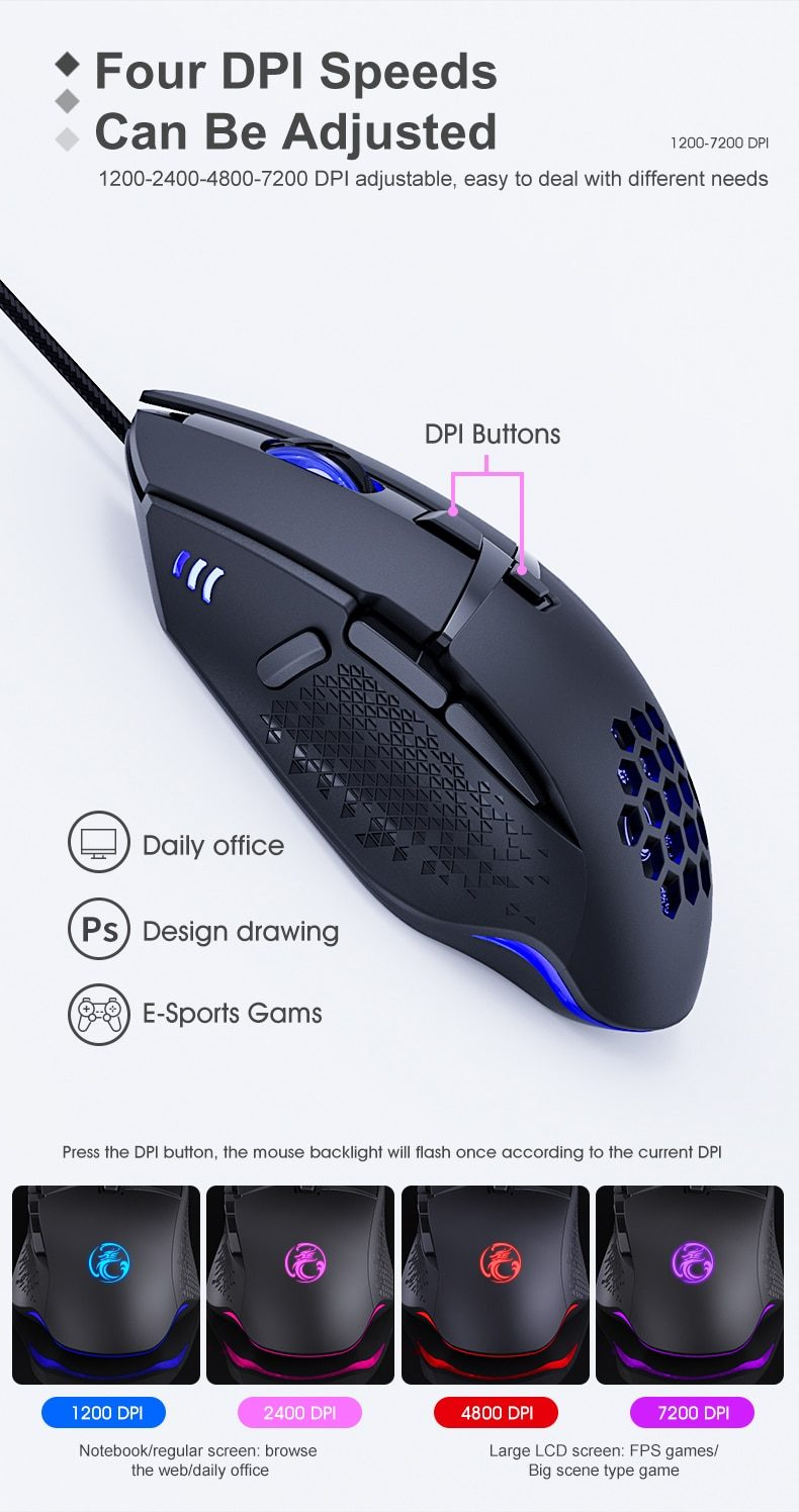 Wired LED Gaming Mouse 7200 DPI Computer Mouse Gamer USB Ergonomic Mause  With Cable For PC Laptop RGB optical Mice With Backlit