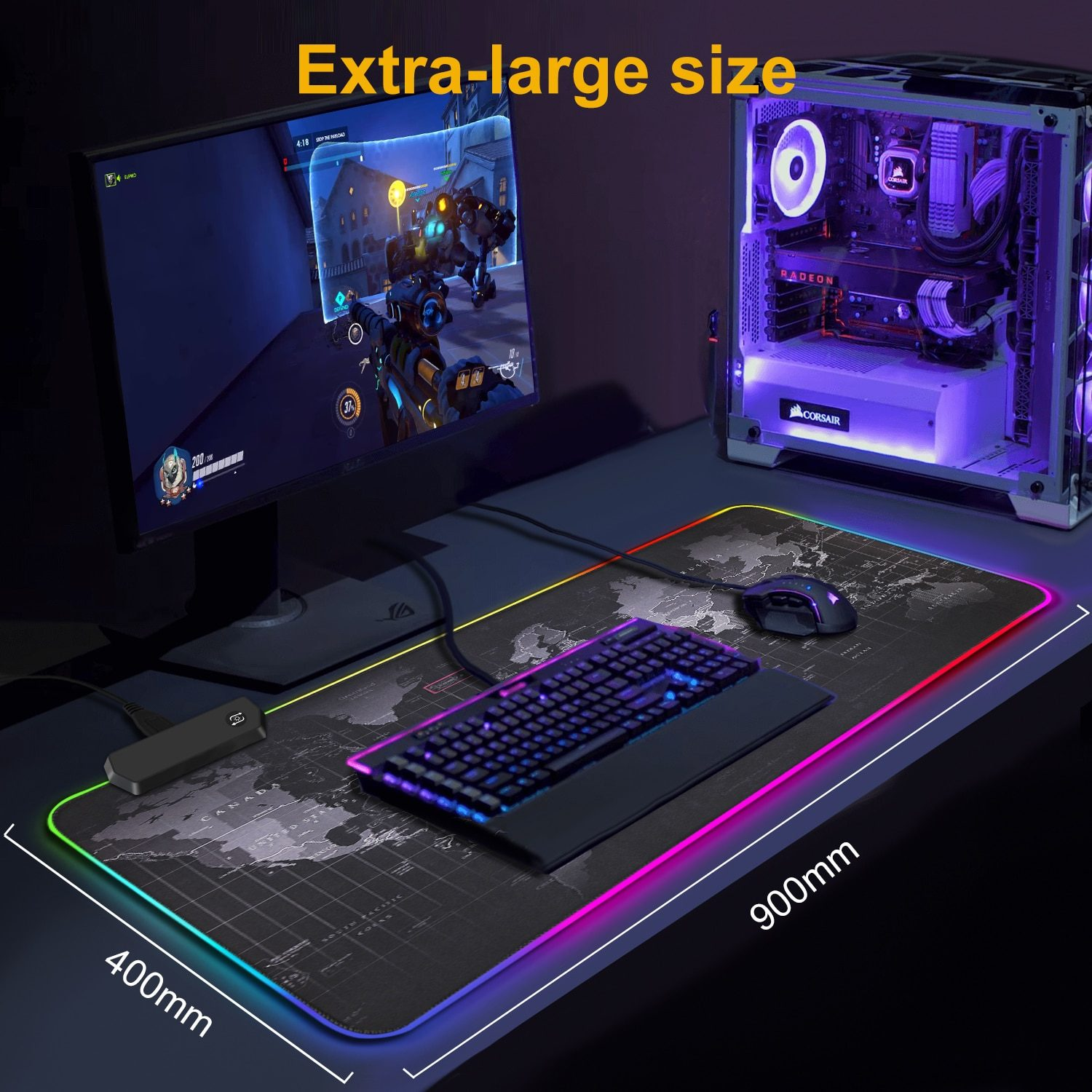 RGB Mousepad Gaming Mouse Pad XXL Large Mouse Pad Gamer LED Big Mouse Mat Computer Carpet with Backlight Mause keyboard Desk Mat