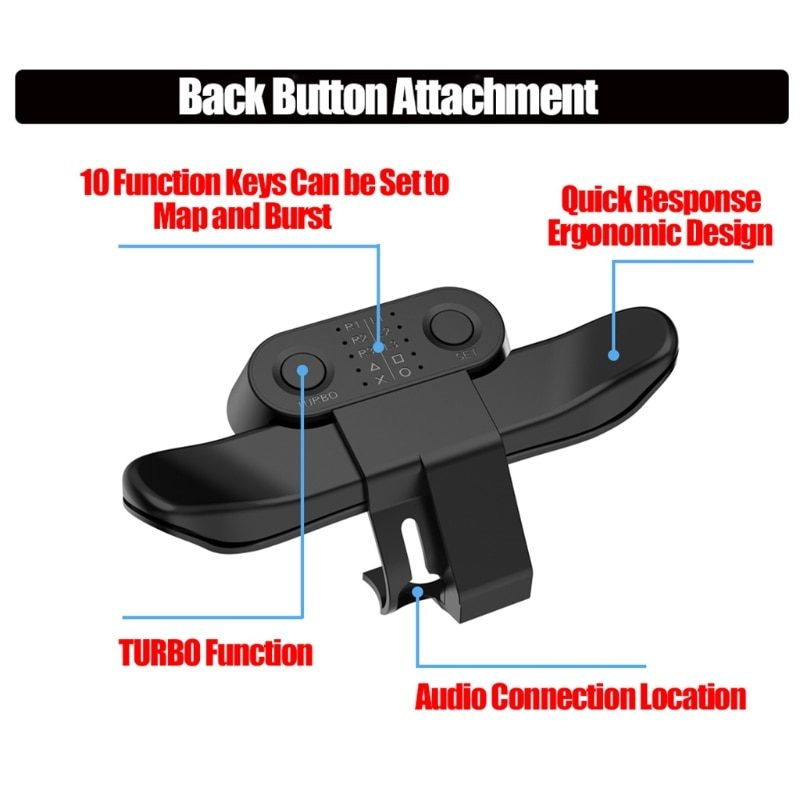 Extended Gamepad Back Button Attachment Joystick Rear Button With Turbo Key Adapter For PS4 Game Controller Accessories