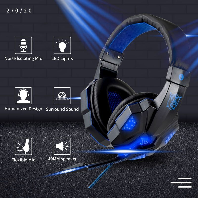 Professional Led Light Bass Gamer Wired Headset With Microphone For Switch PS4 Computer Gaming Over Ear Headphones For XBox PC
