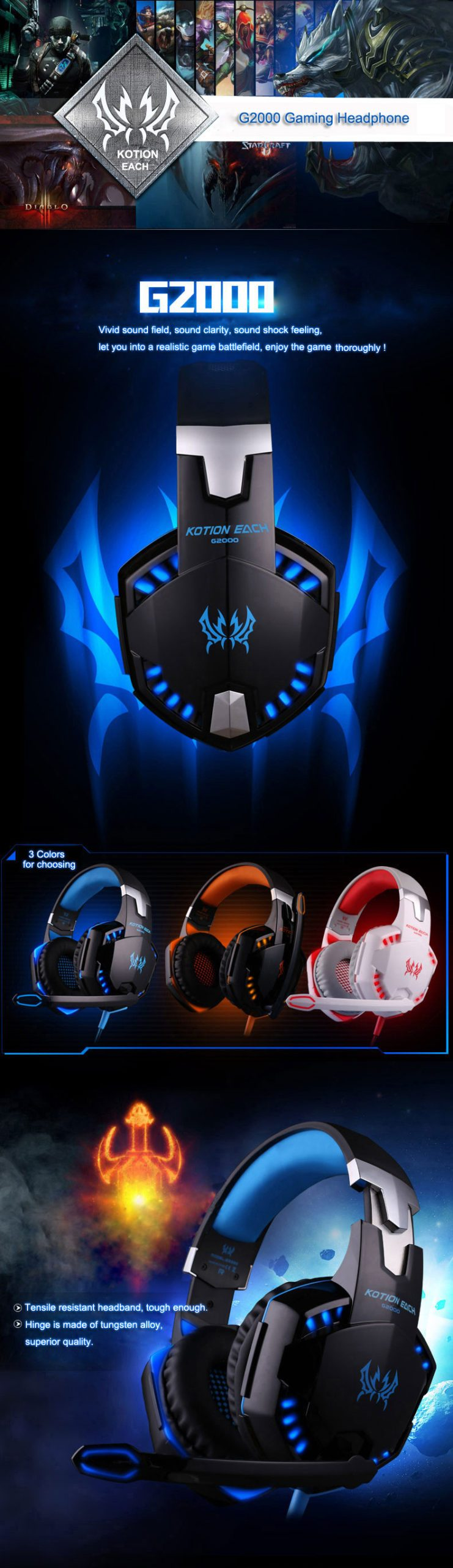 KOTION EACH Gaming Headset Deep Bass Stereo Game Headphone with Microphone LED Light for PS4 PC Laptop+Gaming Mouse+Mice Pad