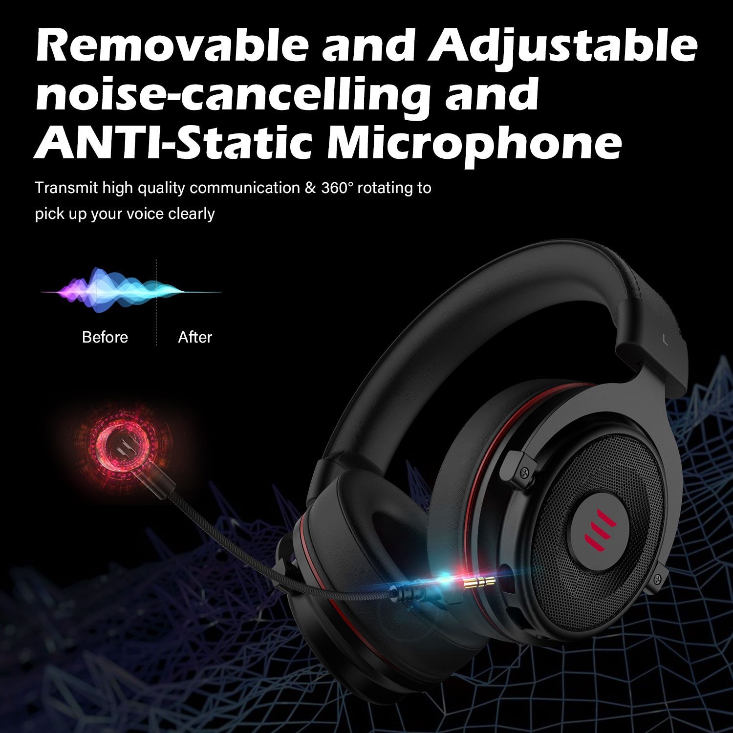 EKSA Gaming Headset Gamer E900 PRO Headset 7.1 Surround Sound Wired Headphones LED USB/3.5mm Earphones with Mic For Xbox PC PS4