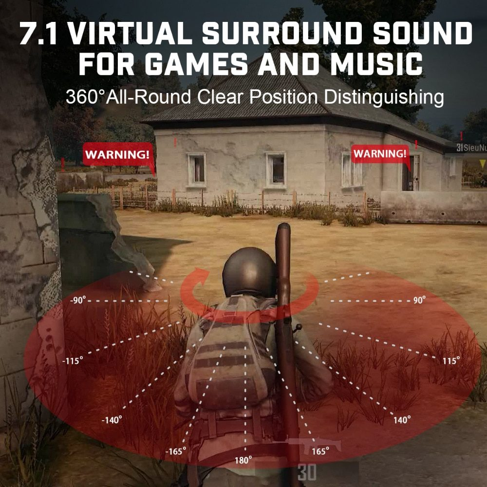 EKSA E900 Pro Virtual 7.1 Surround Sound Gaming Headset Led USB/3.5mm Wired Headphone With Mic Volume Control For Xbox PC Gamer