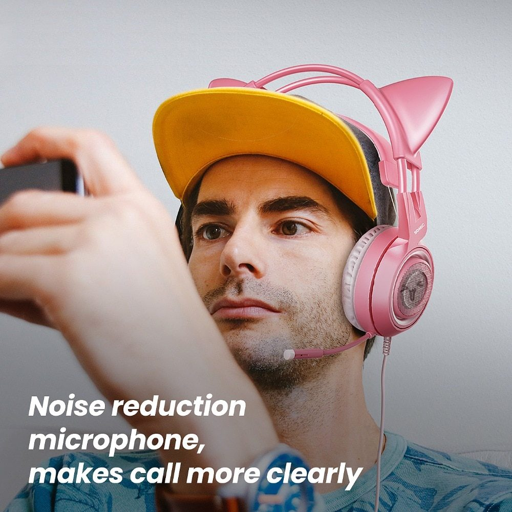 SOMIC Wired Headset Gamer Pink Cat Ear Headset Cute PS4 Phone PC With Microphone 3.5mm Gaming Phone PS4 Overear Gamer G951s Pink