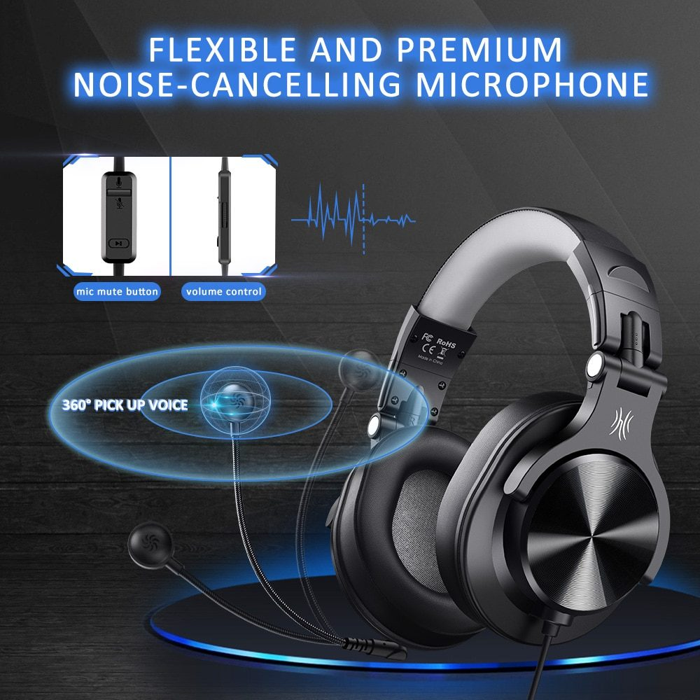 Oneodio Wired Gaming Headset Gamer 3.5mm Over-Ear Stereo Gaming Headphones With Detachable Microphone For PC Computer PS4 Phone
