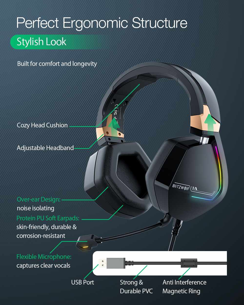 BlitzWolf BW-GH2 Gaming Headphones 7.1 Channel 53mm Driver USB Wired RGB Gamer Headset with Mic for PC for PS3/4 Headphone