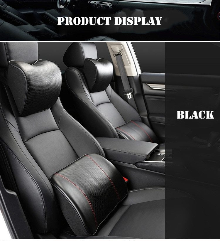 Genuine Leather Car Neck Pillow Set Memory Foam Auto Headrest Lumbar Seat Supports Cushion Universal Back Pillows Accessories