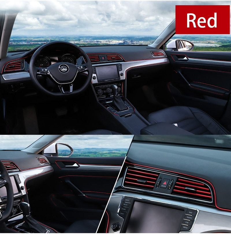 3/5M Car Seal Styling Interior Stickers Decoration Strip Mouldings Car Door Dashboard Air Outlet Steering Strips For Auto