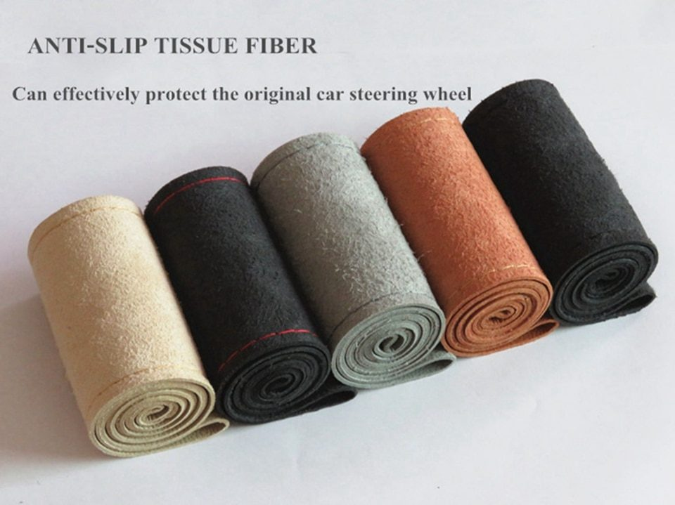 DIY 38cm Steering Wheel Covers soft Leather braid on the steering-wheel of Car With Needle and Thread Interior accessories