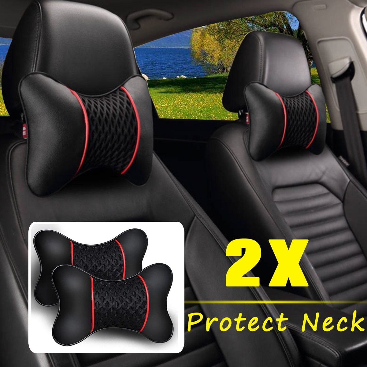 2Pcs PU Leather Knitted Car Pillows Headrest Neck Rest Cushion Support Seat Accessories Auto Black Safety Pillow Universal Decor