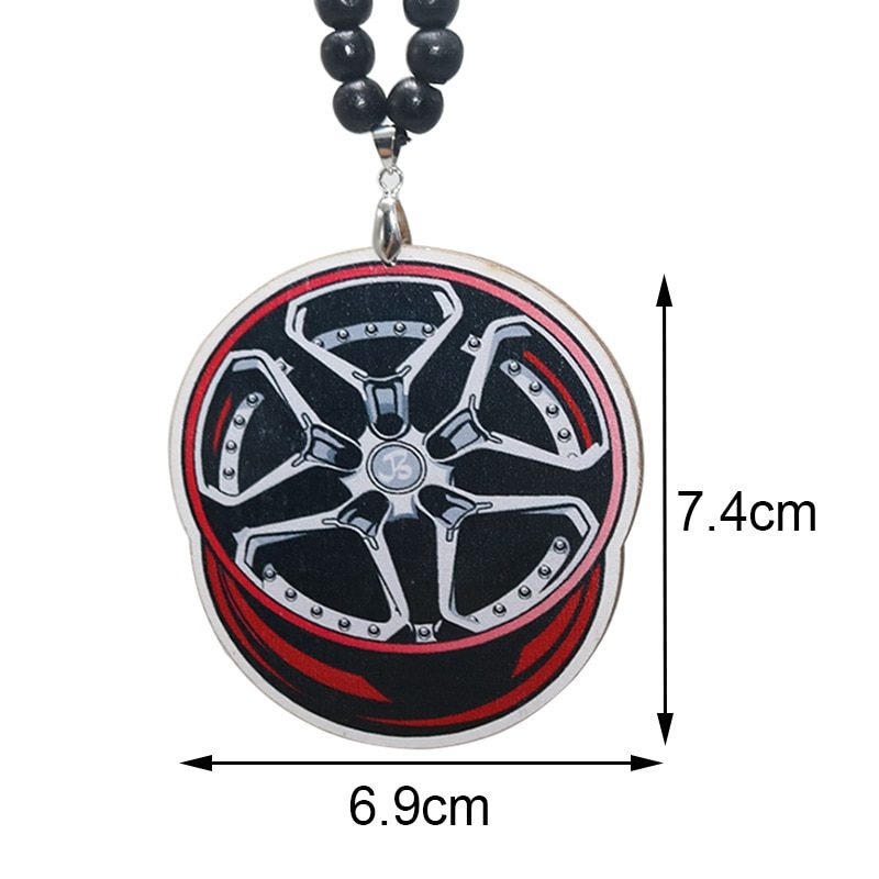 Car interior rearview mirror hanging wheel hub shock absorber car hanging trend modified car accessories wood non-smoking
