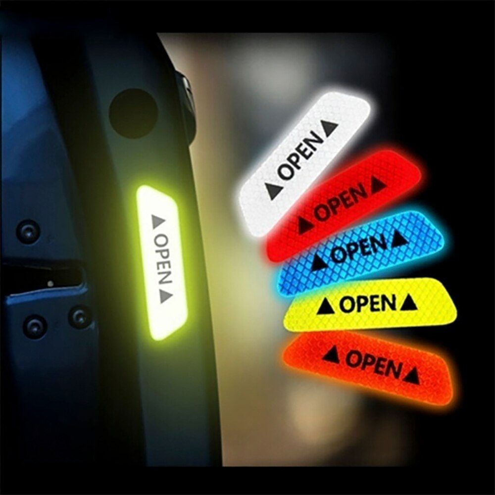 2020 Car Accessories 4Pcs Reflective Tape Door Sticker Decals Car Safety Night Reflector Universal Warning Sign Reflective Strip