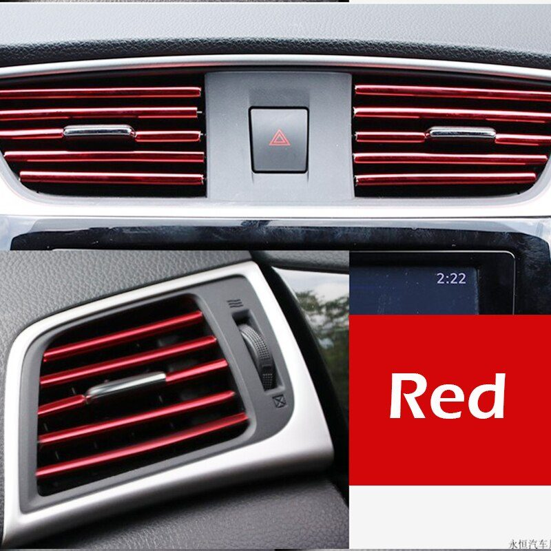 10PCS Car-styling Plating Air Outlet Trim 20cm Interior Moulding Strip Soft PVC Air Vent Grille Switch Car Interior Accessories