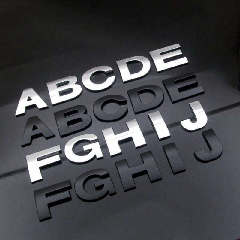 WL New 45 And 25-28mm 3D DIY Letters Alphabet Emblem Chrome And Black Car Sticker Digital Badge Logo  Accessories Motorcycle