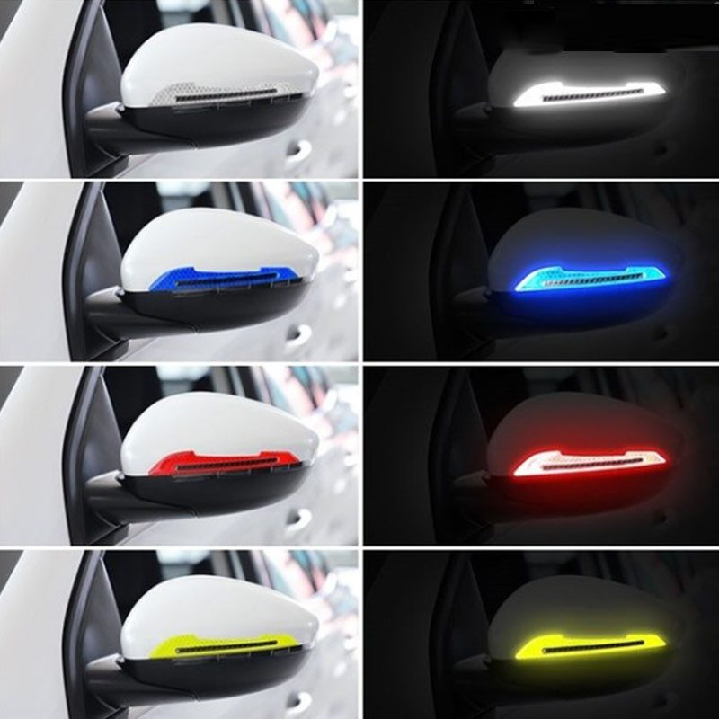 2 pcs Cars deco Reflective Strips tape Stickers RearView Mirror afety-Warning Sign Decals cars decoration accessories