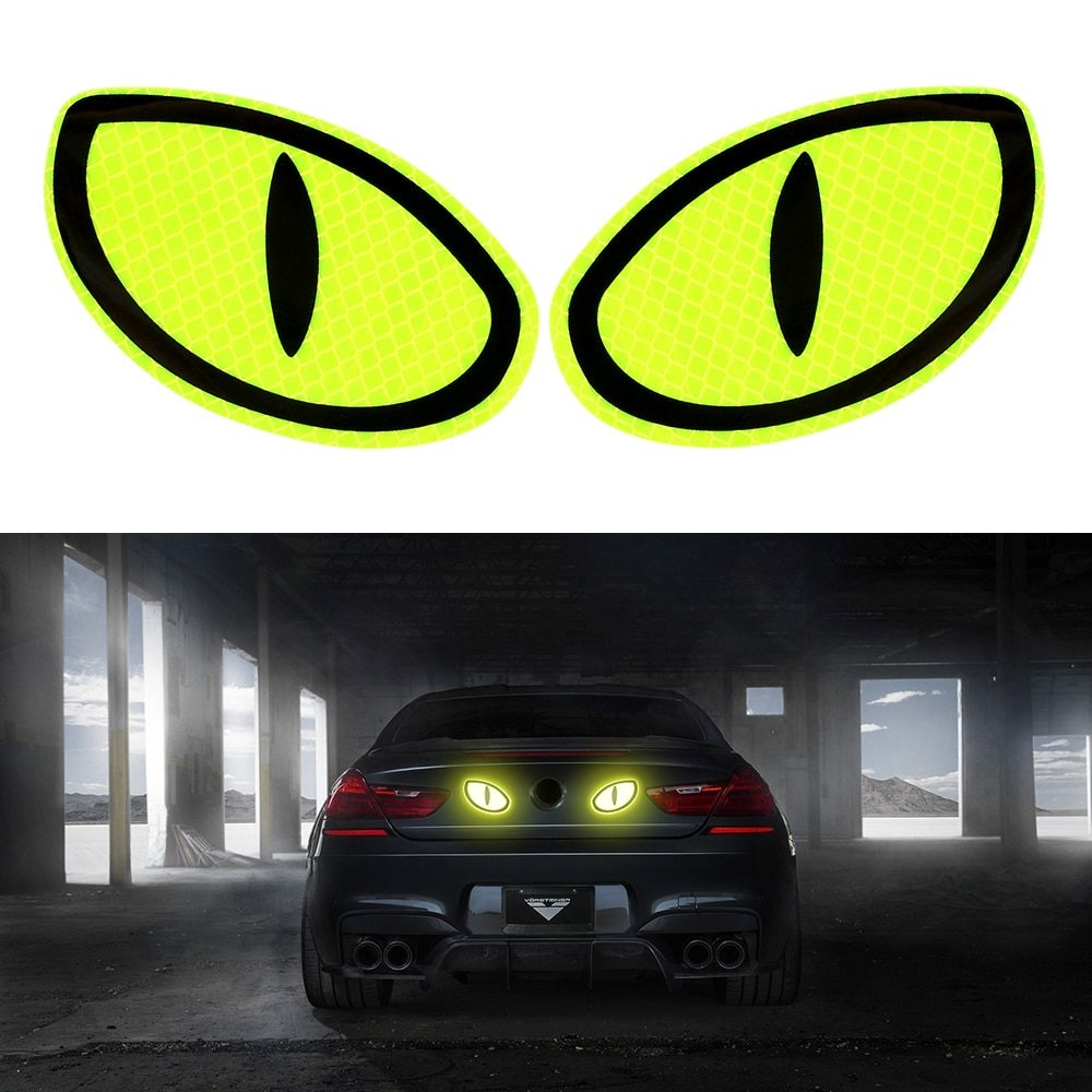 LEEPEE 2 Pieces Big Eye Car Reflective Stickers Warning Tape Reflective Strips Safety Mark Car Door Bumper Sticker Accessories