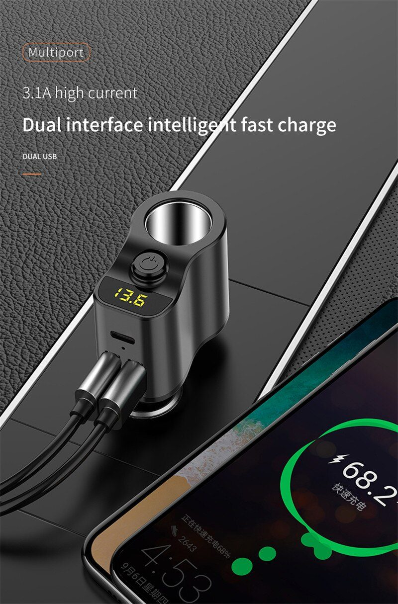 80 W Splitter Car Charger Power Adapter Lighter for Xiaomi Redmi Note 8 USB C Type Phone Gadgets Fast Charging Car Accessories