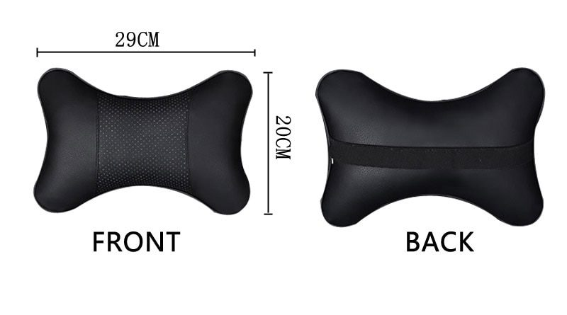 2pcs Car Neck Pillow  Double-sided PU Leather Perforating Design Hole-digging Car Headrest pillow Auto Safety Accessories