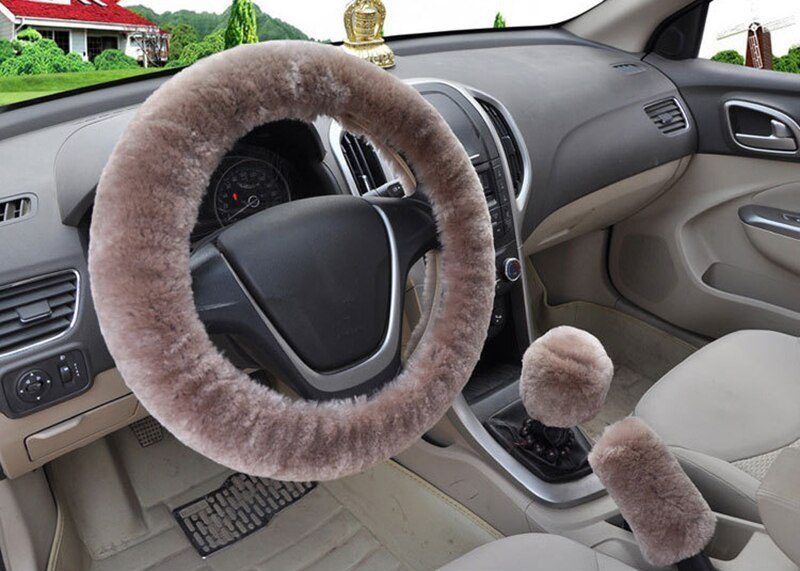 Car Steering Wheel Cover 16 colors Winter Universal Hand Brake Gear Position Gear Three-piece Fur Cover Car Interior Accessories
