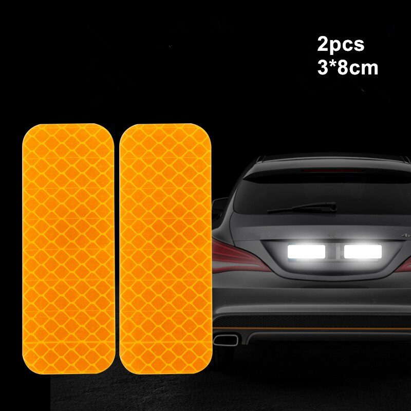 2pcs Warning Mark Car Reflective Tape Door Bumper Stickers Strip Safety Light Reflector Auto Safety Universal Car Accessories