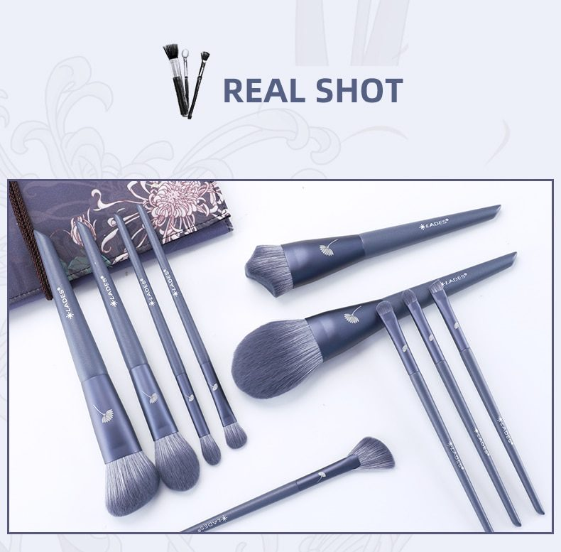 LADES 10PCS Makeup Brushes Sets Powder Sculpting Foundation Eyeshadow Blush Make up Brush Beauty Tool With Pouch