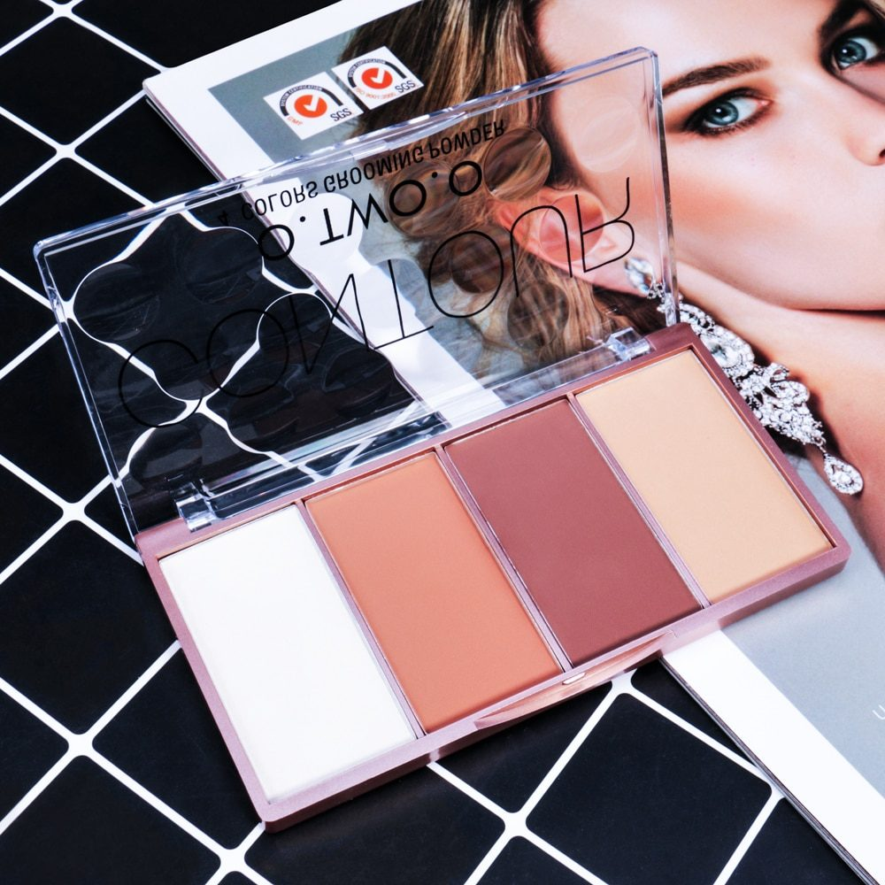 O.TWO.O Contour Palette Face Shading Grooming Powder Makeup 4 Colors Long-Lasting Face Make Up Contouring Bronzer Cosmetics