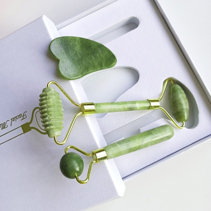 Jade Roller Massager for Face Roller Gua Sha Jade Stone Face Massager Thin Face Lift Anti Wrinkle Facial Beauty Skin Care Tools