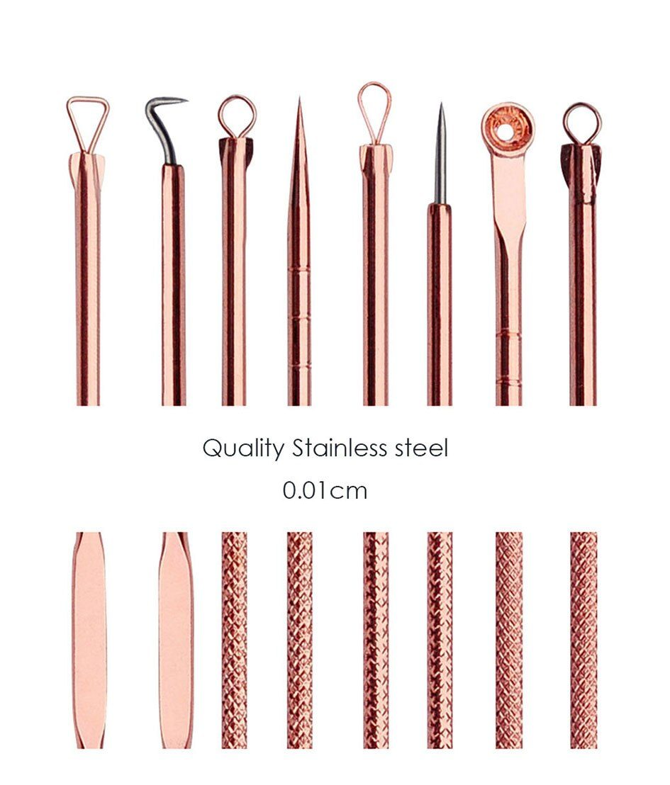 3 4 5 7 8 Pc Stainless Steel Blackhead Remover Tool Kit Face Massage Whitehead Pimple Spot Comedone Acne Extractor Face Massager