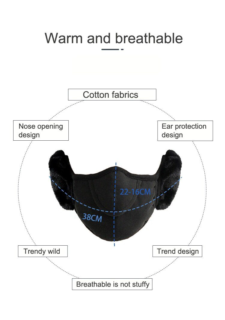 1Pc Thicken Winter Warm Face Mouth Mask Anti Dust Anti-fog Windproof Earmuff Mouth-muffle Safety Respirator Protection For Adult