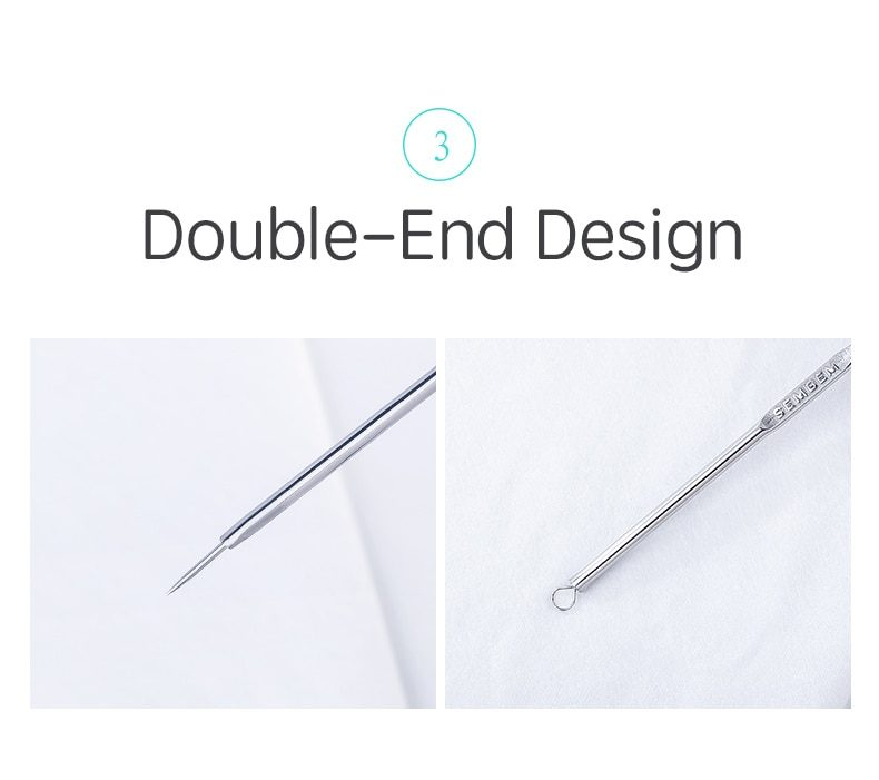 SEMBEM Acne Blackhead Comedone Pimple Remover Extractor Solid Stainless Steel Acne Removal Needle Face Treatment Tool Extractor