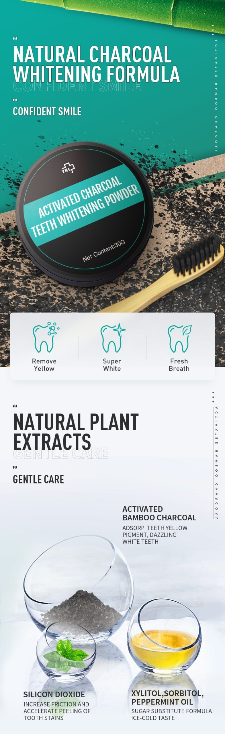 Y-Kelin  New 30g Teeth Whitening Oral Care Charcoal Powder Natural Activated Whitener Hygiene Dental Bamboo Charcoal Tooth Poder